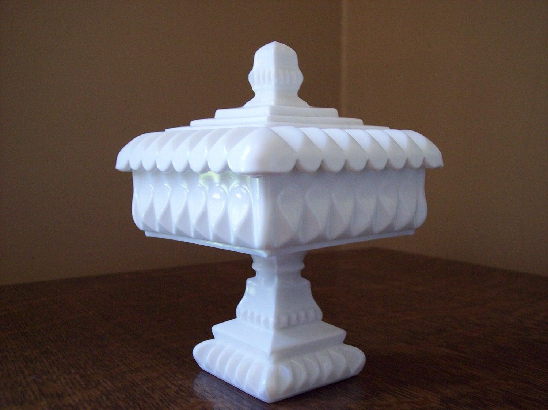 Milk Glass Westmoreland Wedding Bowl With Lid By Sherwoodvintage