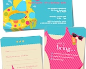 PRINTABLE SET - Birthday Invitation Bundle Pack (Pool Party - Pink)