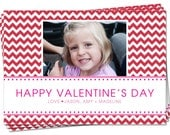 PRINTABLE - Valentines Day Photo Card - Red Chevron Stripe