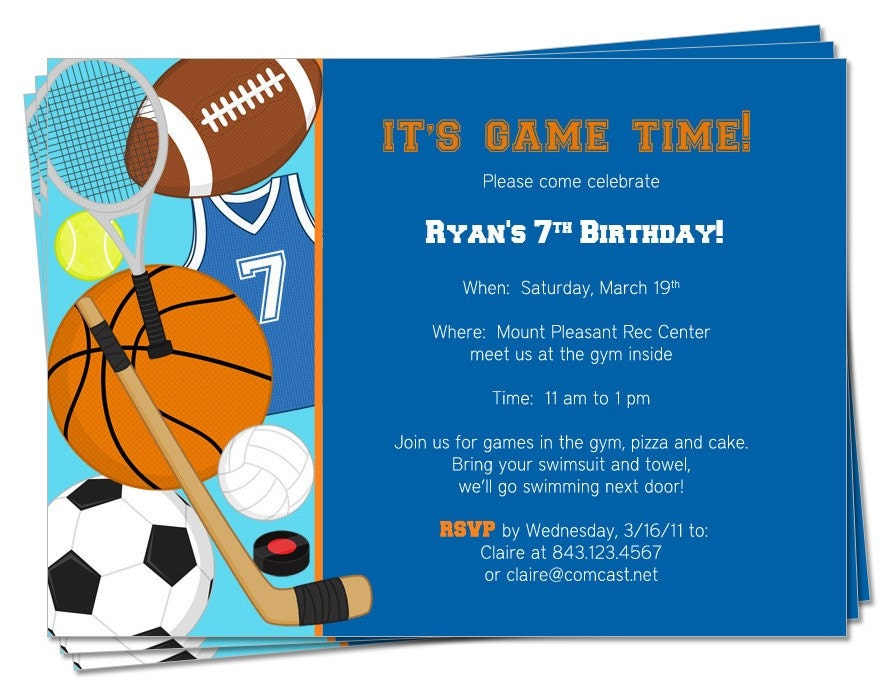 Sport Themed Invitations for awesome invitation example