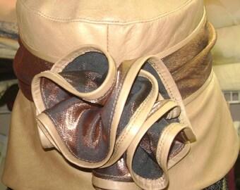 Lady's Soft, Beige Lamb Leather Hat