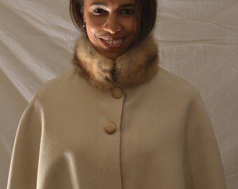 Wool Capelet with Genuine Russian Sable Fur Collar and 100% Silk Charmeuse Lining