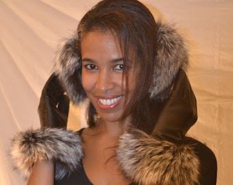 Genuine Silver Fox Fur Earmuffs