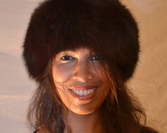 Copper-Brown Genuine Leather Hat with Dyed Brown Genuine Fox Fur Trim