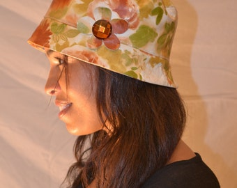 Floral-Print Genuine Leather Hat