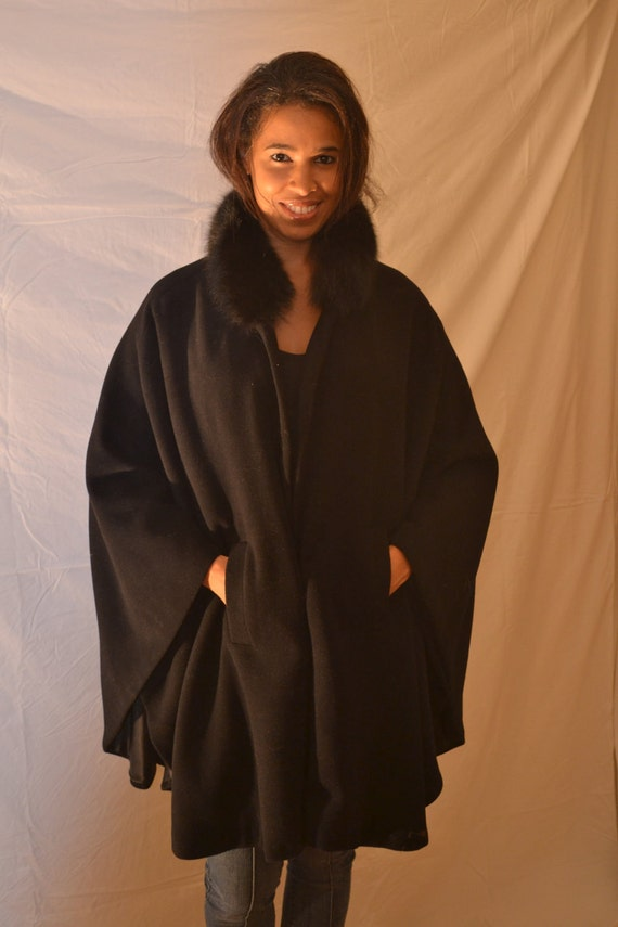 100% Black Cashmere Cape with Genuine Fox Fur Collar and Silk/Bemberg Lining