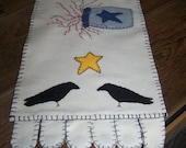 Hand Appliqued Table Runner crows pottery crock pip berry felt washable embroidery   table top runner  handmade ....HAFAIR Etsy Team