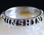 You are my sunshine (discount)  ... Inspirational quote on Fine Silver Ring