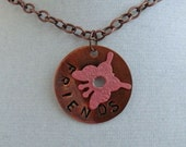 pendant Pink butterfly friends circle