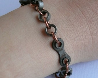 bicycle bracelet, Tour de France inspired bike jewelry cycling bracelet, bicycle chain and copper