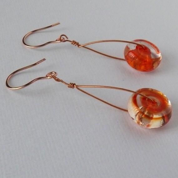 earrings tangerine glass copper dangle