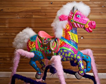 Hand Painted Funky Whimsical Rocking/Spring Horse *SOLD*