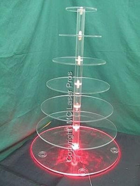 7 Tier 1 4 Thick Circle Acrylic Cupcake Stand Lighted