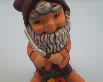 Flower pot ceramic Gnome with garden shears