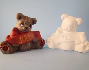 July Birthstone Bear Ceramic Bisque paint it your self
