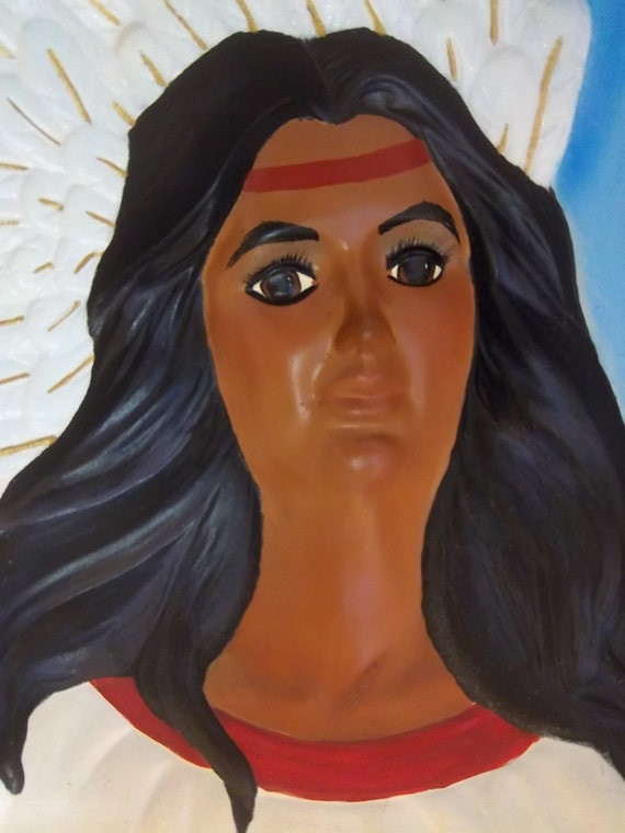 Native American Angel watching lamp made out of ceramic