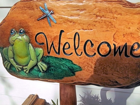 Frog Welcome ceramic sign for yard or flower pot by entry door