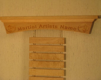 Personalized Solid Maple Martial Arts Trophy Shelf and Belt Display Rack with Kickers Arch