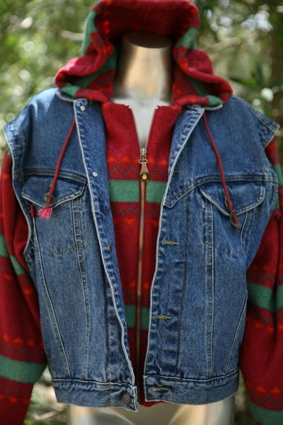 90s southwest fleece on denim vest jacket