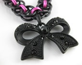 Darling Goth Black and Pink Parallel Helm Chainmaille Choker with Rhinestone Bowtie