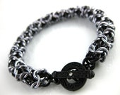 Turkish Round Chainmaille Bracelet in Black Ice on Black with Rhinestone Toggle Clasp