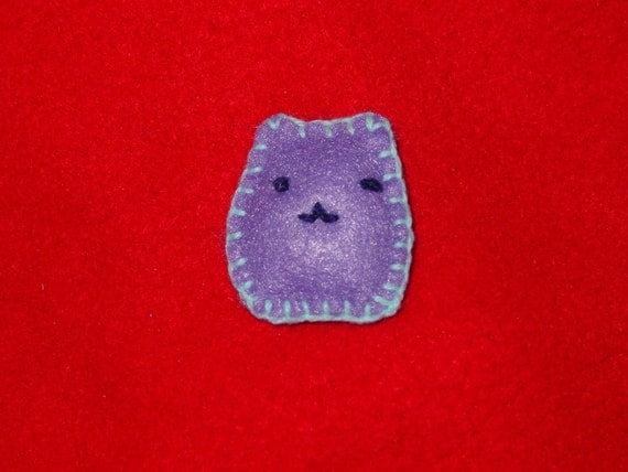 Purple Chibi Cat Ponytail Holder or Ring