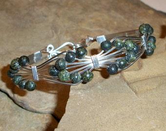 Sterling Silver & Jade Bowtie Wire Bracelet FREE SHIPPING