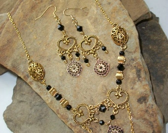 Gold and Black Necklace and Earring Set, Free US Shipping