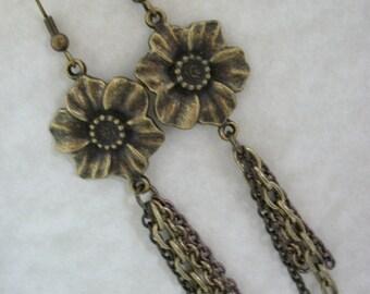 SALE Bronze Flower Chain Earrings FREE SHIPPING