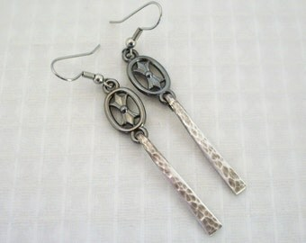 FREE SHIPPING Vintage Silver Fork Tine Earrings