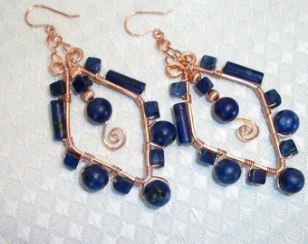 Copper & Lapis Lazuli Beaded Earrings, Free US Shipping