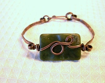 FREE SHIPPING Jade and Copper Bracelet
