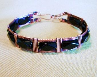 FREE SHIPPING Oxidized Copper Bangle Bracelet