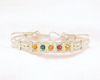 Mother's Bracelet in Sterling Silver with Swarovski Crystal Birthstones FREE SHIPPING