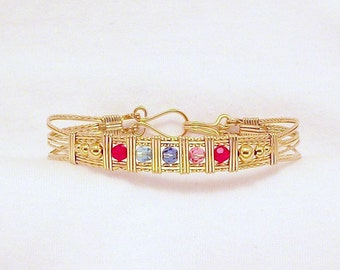 Mother's Bracelet in Gold-Filled Wire with Swarovski Crystal Birthstones FREE SHIPPING