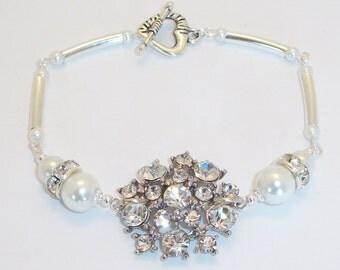 Bridal Rhinestone Bracelet, Free US Shipping