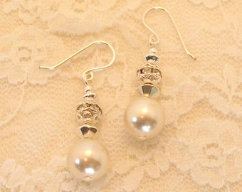 Bridal Pearl and Crystal Silver Earrings FREE SHIPPING Style LS14
