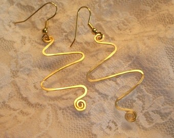 SALE Gold Wire Squiggle Earrings FREE SHIPPING