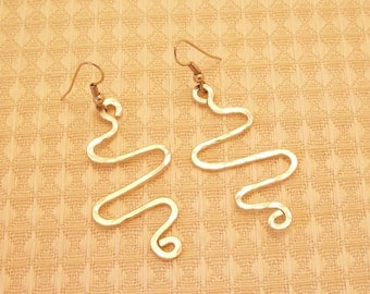 SALE Aluminum Wire Squiggle Earrings FREE SHIPPING