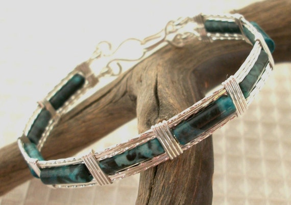 FREE SHIPPING Sterling Silver Malachite Jasper Bangle Bracelet