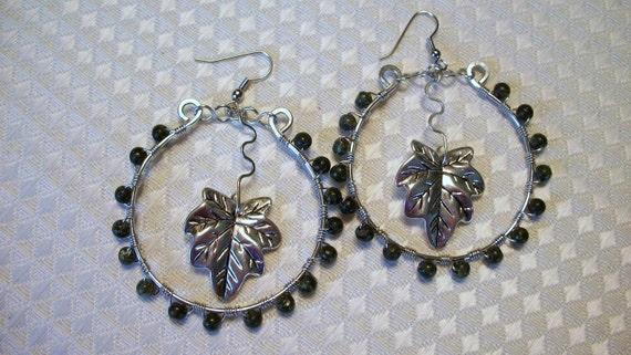 Russian Jade Silver Beaded Hoop Earrings FREE SHIPPING