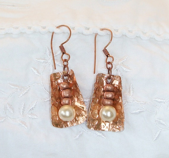 FREE SHIPPING Copper and Pearl Earrings
