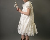 """Victorian Lace Flower Girl Dress, Victorian Communion Dress, Ivory or White Lace, vintage style """"Olga"""" CUSTOM  size"""