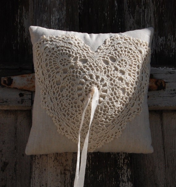 """Rustic Ivory crochet heart and gray Linen Ring pillow """"Grandma did it"""" -  8.5"""" x 8.5"""" - Ready to Ship"""