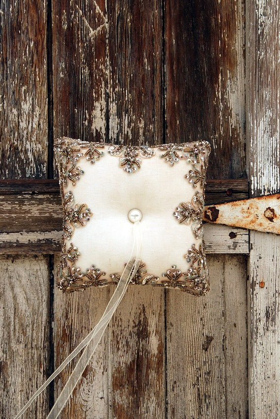 """Vintage Beaded Lace and Tea-stained Linen Victorian style Ring pillow """"Chantal"""", Ivory - Dark Ivory -  7"""" x 7"""""""