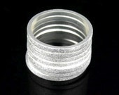 Sil-R-015 Handmade 5 plain square sand blasted sterling silver stacking rings