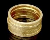 Sil-RG-015 Handmade 5 plain square sand blasted 24K gold vermeil on sterling silver stacking rings
