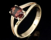 9CTRK-009 Solid 9ct 9k gold red garnet handmade ring
