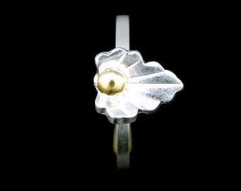 Sil-RJ-002 Handmade 1 flower sterling silver yellow gold plated stacking rings