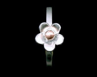 Sil-RR-004 Handmade 1 flower sterling silver pink gold plated stacking rings
